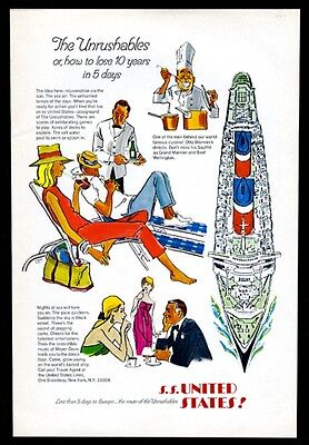 1967 SS S.S. United States ship chef passengers are U.S. Lines vintage print ad