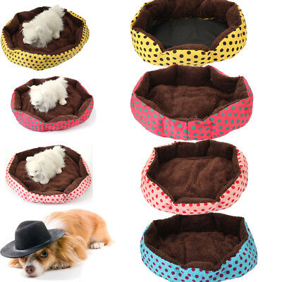 Pet Octagonal Flannelette Cotton Cozy Warm Nest Bed House Dot Pattern Colorful