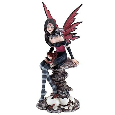 """Red Fairy With Hatching Baby Dragons Figurine Statue 9.75"""" High Resin New In Box"""