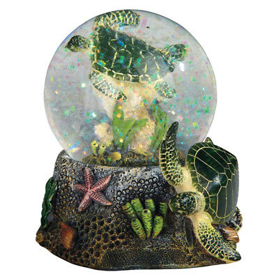 "Green Sea Turtle Snow Globe Dome With Figurine Inside 3.5"" High New In Box"