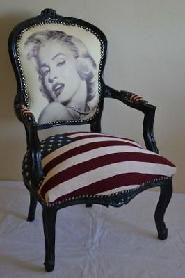 Louis Xv Arm Chair French Style Chair Vintage Furniture Marilyn Black Wood