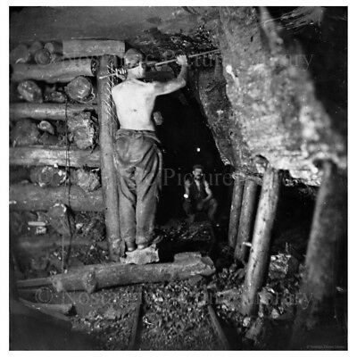 PHOTO  20 MINING SCENE INSIDE  OF CANNOCK CHASE COAL MINE STAFFORDSHIRE c1890