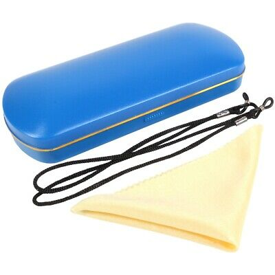 BLUE GLASSES CASE with Cloth & Neck Cord Snap Shut Hard Shell Protection Reading