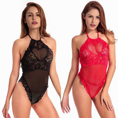 Womens Girls Sexy Lace Lingerie Babydoll Sleepwear Conjoined Backless Bodysuit