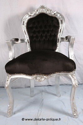 Arm Chair French Style Chair Vintage Furniture Black Velvet Silver