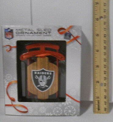 "Oakland Raiders Team Metal Sled Christmas TREE ORNAMENT 4"" NFL Forever"