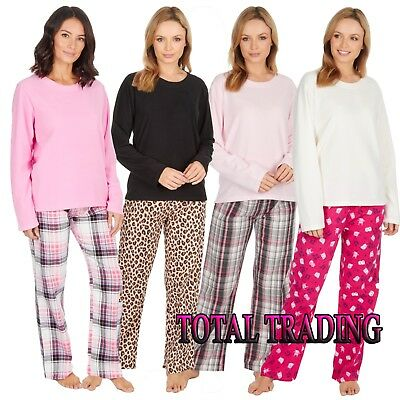 Ladies Womens Long Sleeve Fleece Top FLANNEL LOUNGE PANTS Pyjama Set Pjs