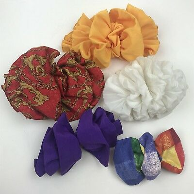 VTG 80s XL 5 pc lot of fulffy hair bows barrettes huge large big yellow red