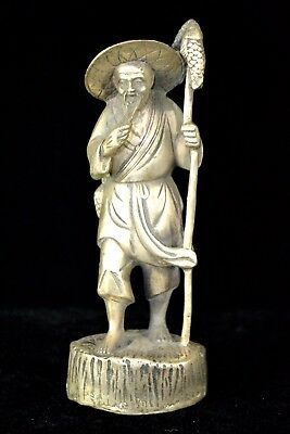 Ancient Old Collectible Tibet Silver Handwork Fisherman Rare Chinese Statue