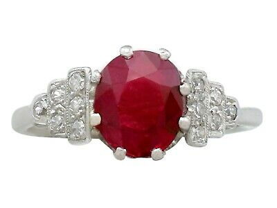 Antique French 1.80 ct Ruby and 0.12 ct Diamond, 14 ct White Gold Dress Ring