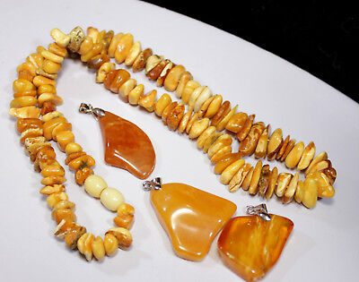 Natural Genuine Butterscotch Egg Yolk Baltic Amber Necklace Pendant