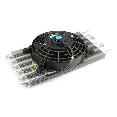 """Flat Transmission Oil Cooler 15.5"""" x 7.5"""" & Electric Thermo Fan Kit"""