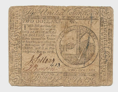 5-9-1776 Continental 2 Dollar Currency Signed by J.Sellers & J. Pearson