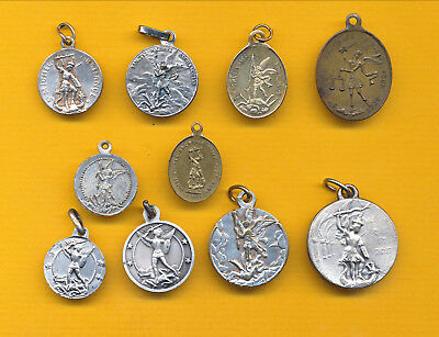 B241) Lot of 10 vintage charm Religious medal St Michael slaying the dragon