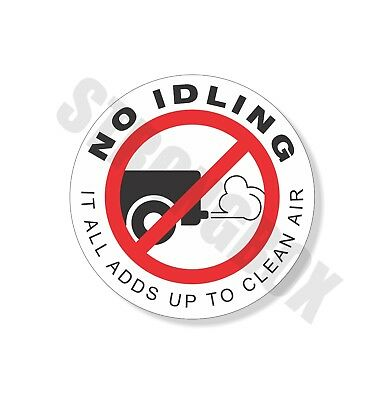 Automotive Environmental Safety ADHESIVE DECAL - NO IDLING - IDLE FREE 3.5""