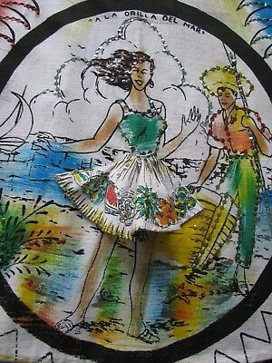Vintage 50's Circle Skirt Novelty Rare Dancers With Lift Up Skirts Sequins Great
