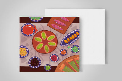 Set of 15 food invitation mini-cards 100x100mm