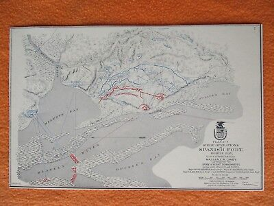 """1958 Civil War Map of """"Siege Operations at Spanish Fort, Mobile Bay, Alabama"""""""