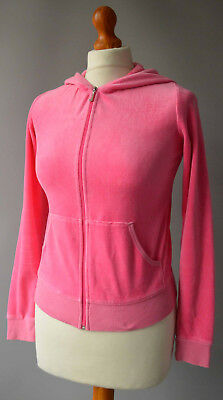 Girls Juicy Couture Pink Velour Hooded Zipper Jacket Age 14