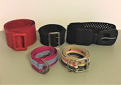 Lot of 5 Womens Belts Assorted Styles, Sizes, Colors