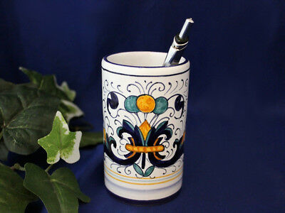Deruta Ricco Italian Pottery Pen Cup & Vase ~ Made in Italy