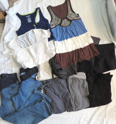 Motherhood Old Navy 13 Pc LOT Fall Spring Summer Shirts Shorts Capri's Sz M
