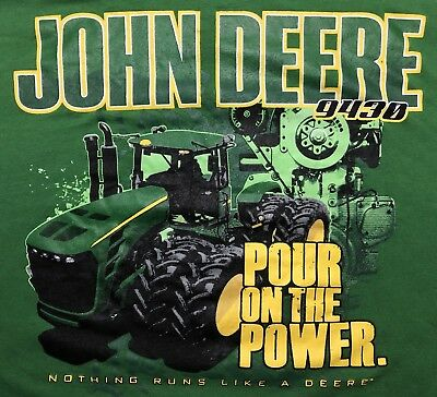 JOHN DEERE 9430 POUR ON THE POWER Tractor Graphic Country Cowboy Work T Shirt XL