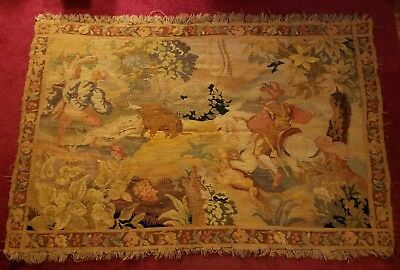 Late 19Th Century French Aubusoon Tapestry Beautiful Hunting Scene