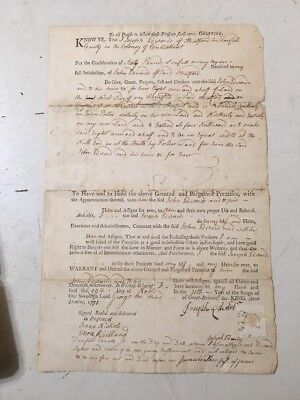 Antique Colonial Connecticut Land Deed 1770 John Edwards Stratford