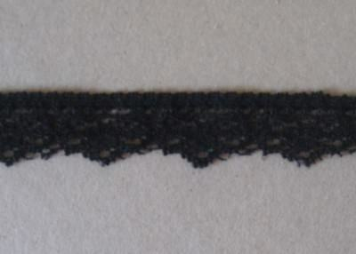 CRAFT-SEWING-LACE 2.27mtrs x 15mm Black Scallop Design Stretch Lace