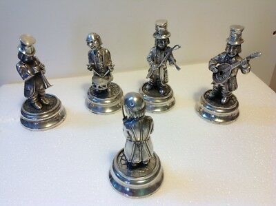 A Fine Spanish Hallmarked Solid Silver Set Of 5 Figurines To Form Musical Band