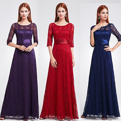 Ever-Pretty US Lace Bridesmaid Dresses Long Backless Homecoming Party Gown 08878