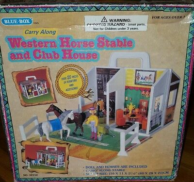Blue Box Toys Vintage Western Horse Stable And Club House