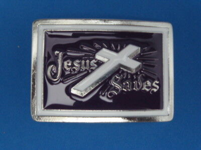 New Old Stock Jesus Saves Pewter Style Metal Belt Buckle Made In Usa No3 #129