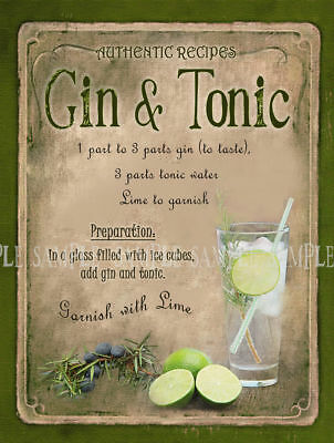 Gin & Tonic Cocktail Recipe Metal Sign Home Bar:pub:bar:cafe:kitchen Lovely Gift