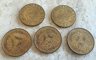Lot of 5 Vintage 1960s SEARS Dept Store Salesman Motivational TOKENS ADVERTISING