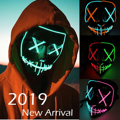 Cosplay Led Costume Wire Light Up Fluorescent Mask Halloween Scary The Purge LOT