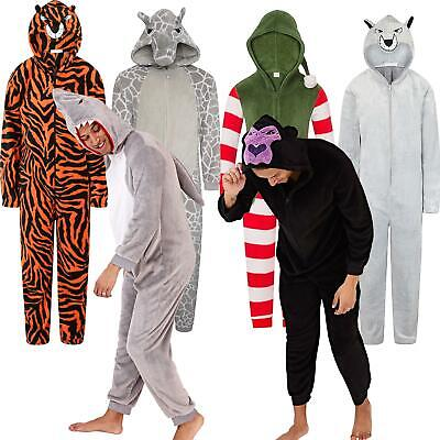 Mens/Boys Fleece All In One Pyjamas Outfit Costume Hood Size S-XL