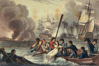 """oil painting""""frenchwoman  being pulled from the water by British sailors """"@7289"""