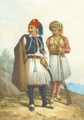 """oil painting on canvas """"Greek and Arnaut wearing the Fustanella costume """"@N10305"""