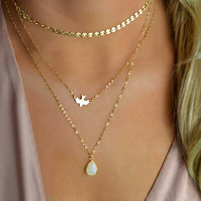 Multi-layer Bird Water Drop Boho Choker Bib Statement Necklace Pendant Jewelry Z