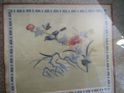Vintage Framed Hand Embroidered Japanese Embroidery Picture B