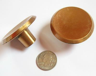 "2 Vintage Ajax Brass Cabinet Drawer Knobs Pulls Pair 2"" Round USA Hardware Door"
