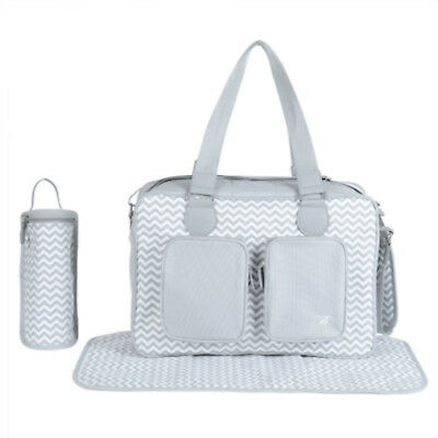New My Babiie Grey Chevron Deluxe Baby Maternity Nappy Changing Bag & Change Mat