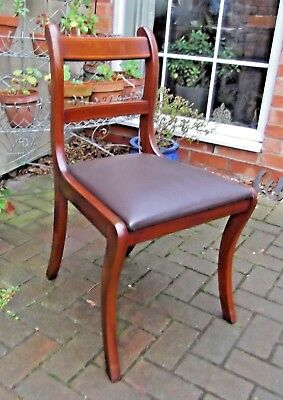 Antique Style Mahogany Desk~Library~Office~Reception~Dining Chair~Leather Seat