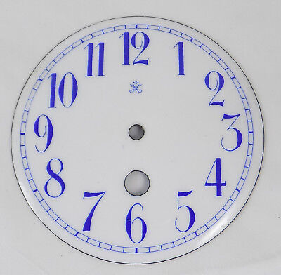Excellent Antique Enamel Domed Clock Dial - Japy Freres - Blue Arabic Numerals
