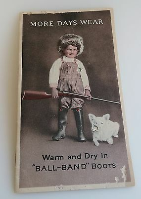 charming old catalog advertising Ball Boots boy with a rifle & dog 1922