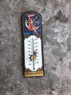 (VTG) 1970s miller high life beer Girl on the moon wooden thermometer sign rare
