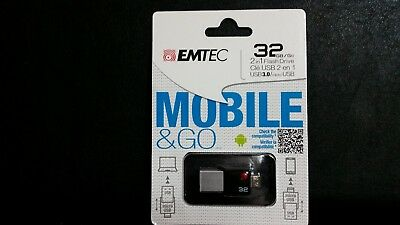 Emtec Mobile & Go 32 GB 2 in 1 Flash Drive, USB 3.0 and Micro-USB