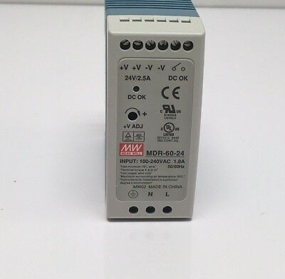 New in Box Mean-Well MDR-60-24 Din Rail DC Power Supply 24-Volt 60-Watts 2.5-Amp